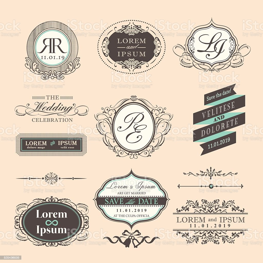 Vintage Style Wedding border and frames vector art illustration