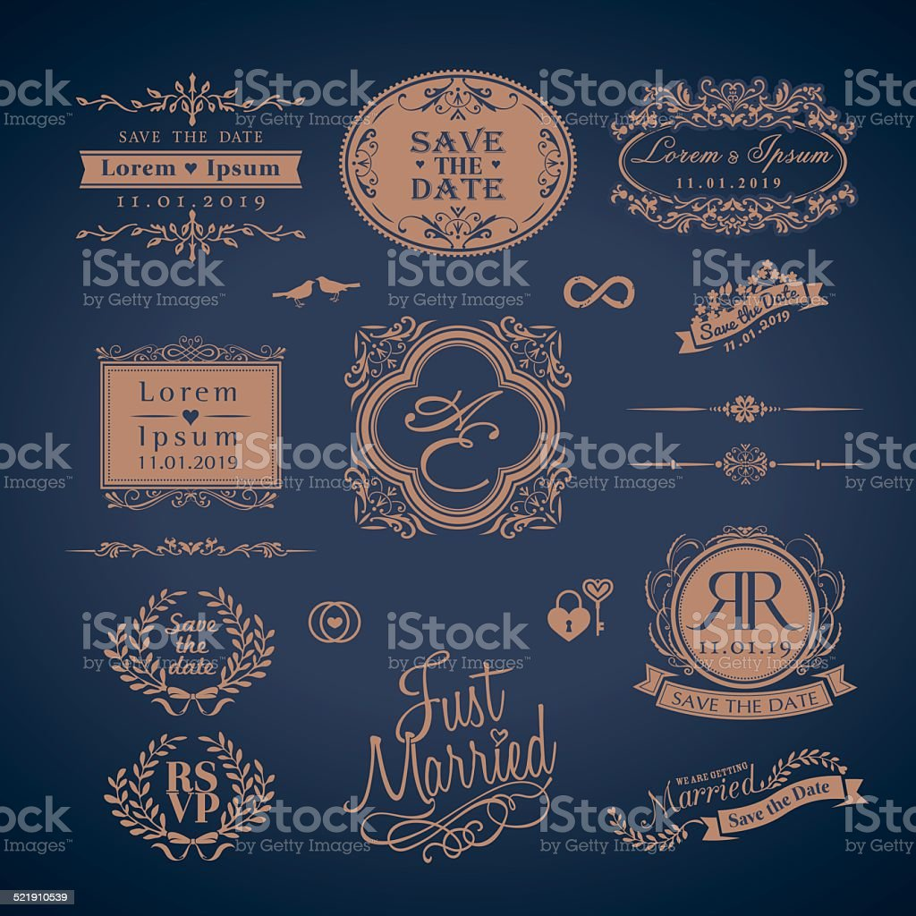 Vintage Style Wedding Monogram border and frames vector art illustration