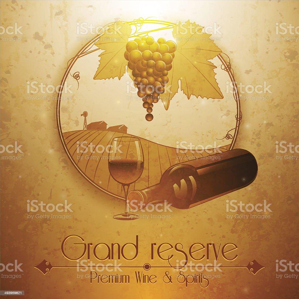 Vintage style wine house or restaurant menu cover design vector art illustration