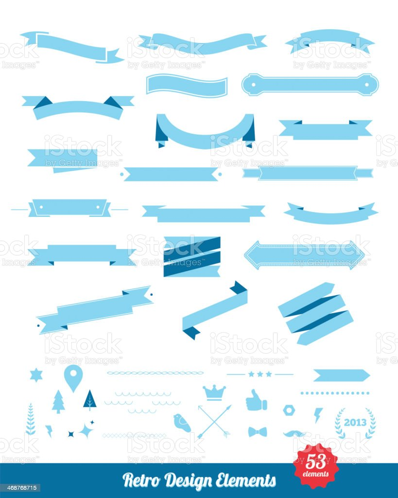 Vintage styled design elements collection. royalty-free stock vector art