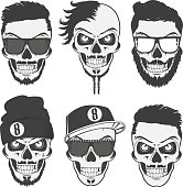 Vintage stylish skulls set for emblems,logo,tattoo,labels