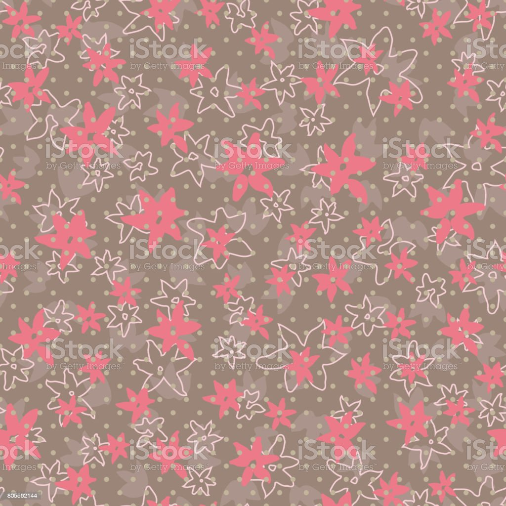 Vintage stylized floral seamless pattern. Flowers hand-drawn ink brush background vector art illustration