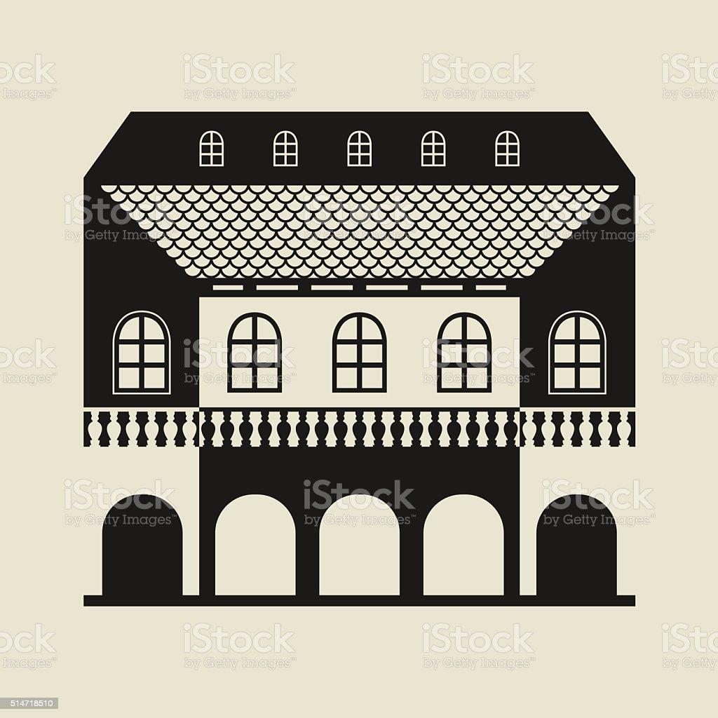 Vintage stylized house vector art illustration