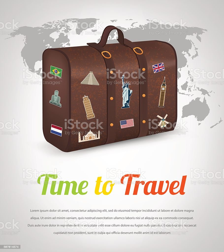 Vintage suitcase with collection of travel labels. Travel and Tourism. royalty-free stock vector art