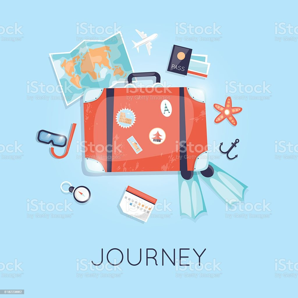 Vintage suitcase with stickers summer holiday. vector art illustration