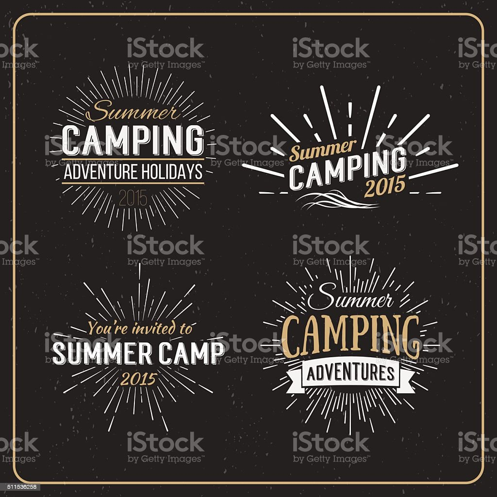 Vintage summer camp badges and other outdoor logos. Camping logo vector art illustration