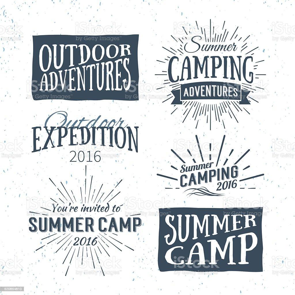 Vintage summer camp badges and outdoor adventure logos, emblems vector art illustration