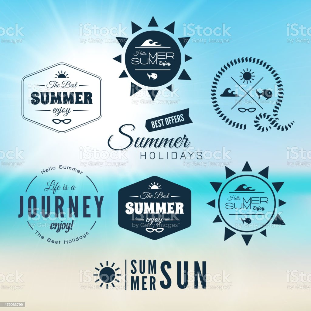 Vintage summer holidays typography design vector art illustration