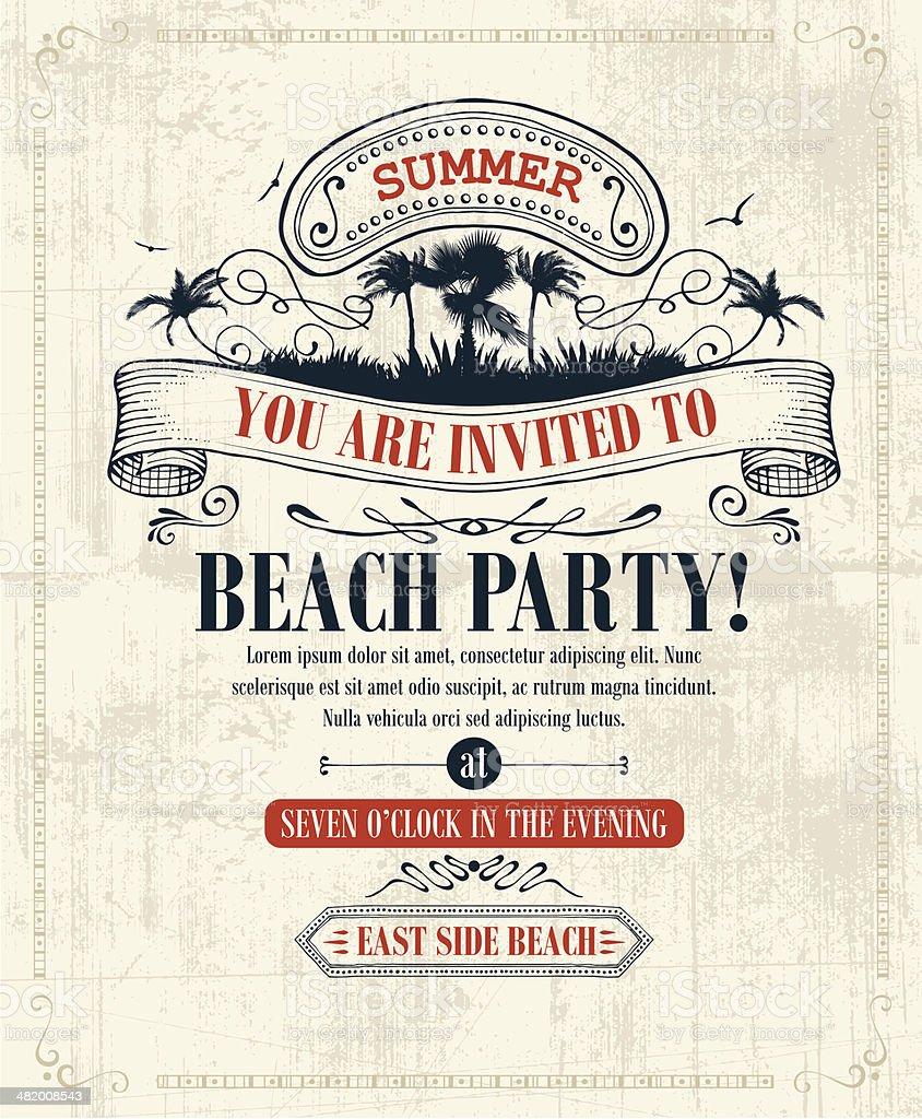 Vintage Summer Invitation royalty-free stock vector art