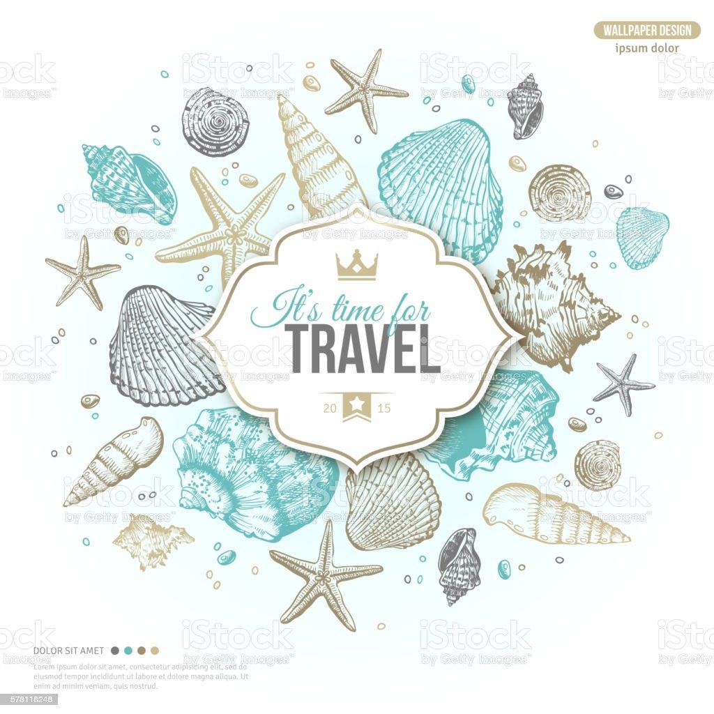Vintage Summer Sea Shells Banner vector art illustration
