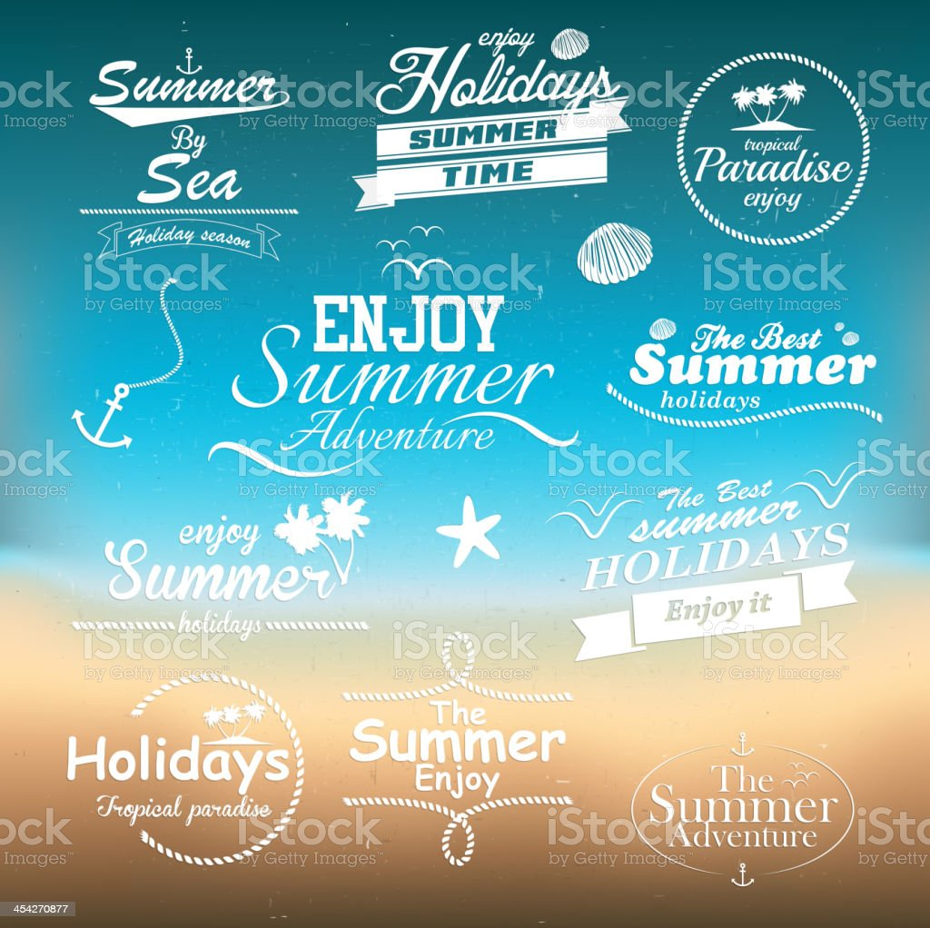 Vintage summer typography design with labels vector art illustration