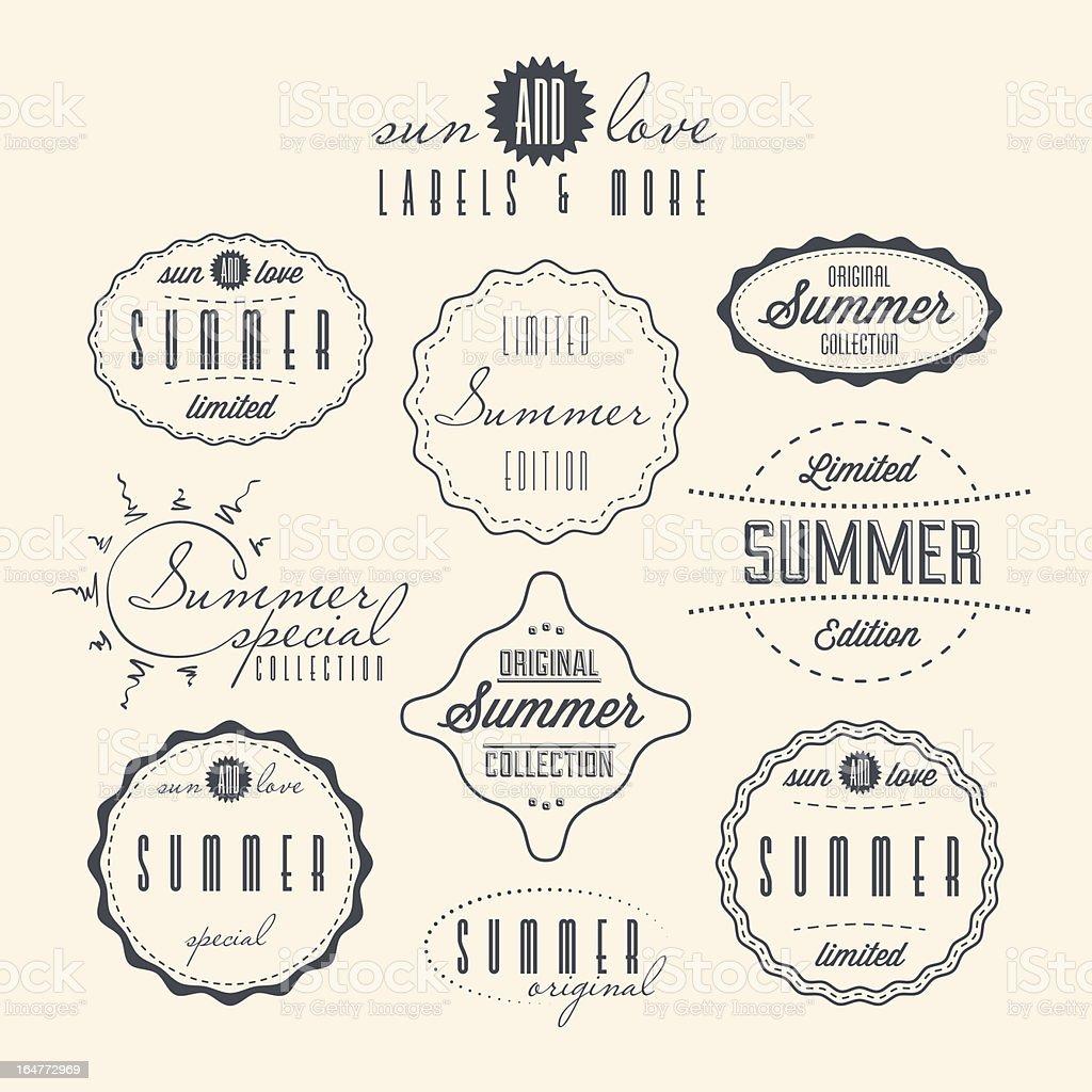 Vintage summery labels in beige and black vector art illustration