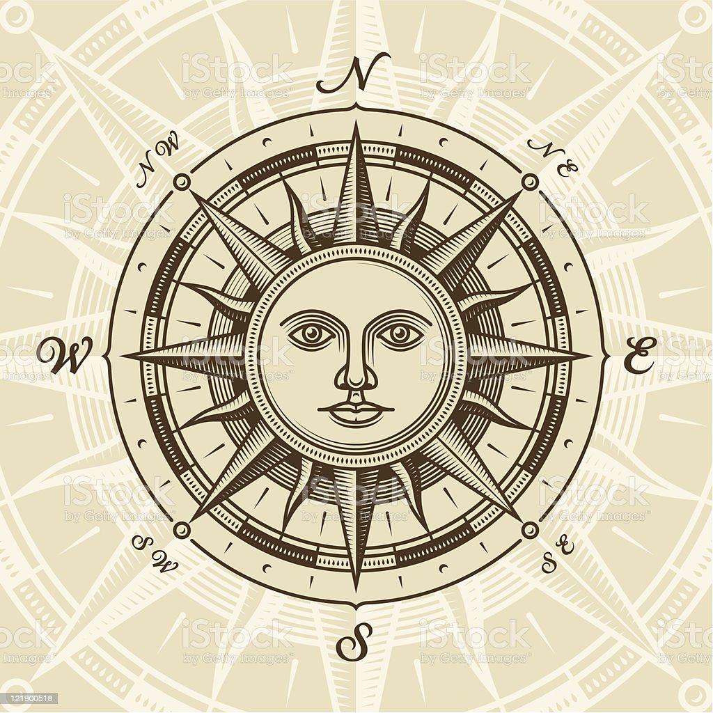 Vintage sun compass rose vector art illustration