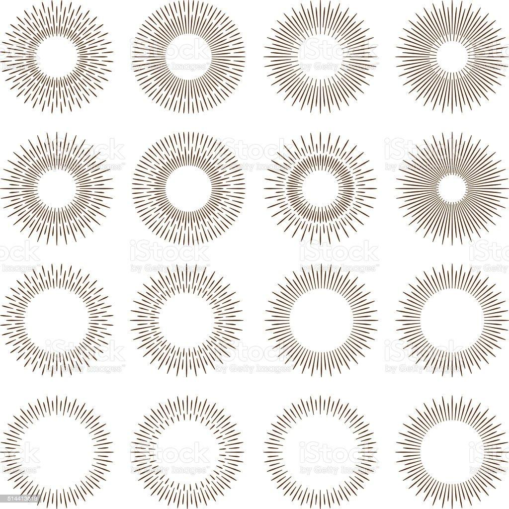 Vintage Sunburst Designs Icon Set vector art illustration