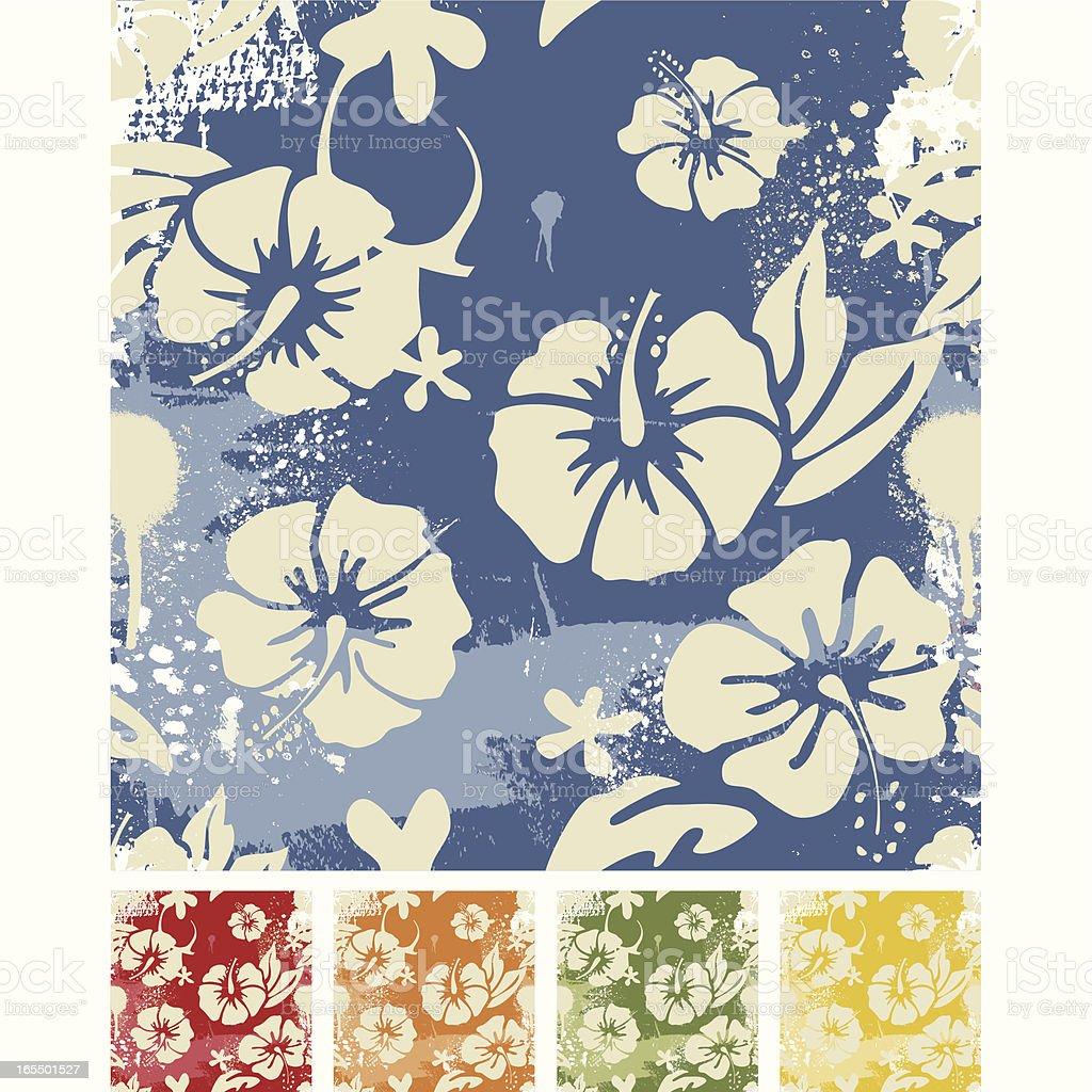 Vintage surf hibiscus pattern vector art illustration