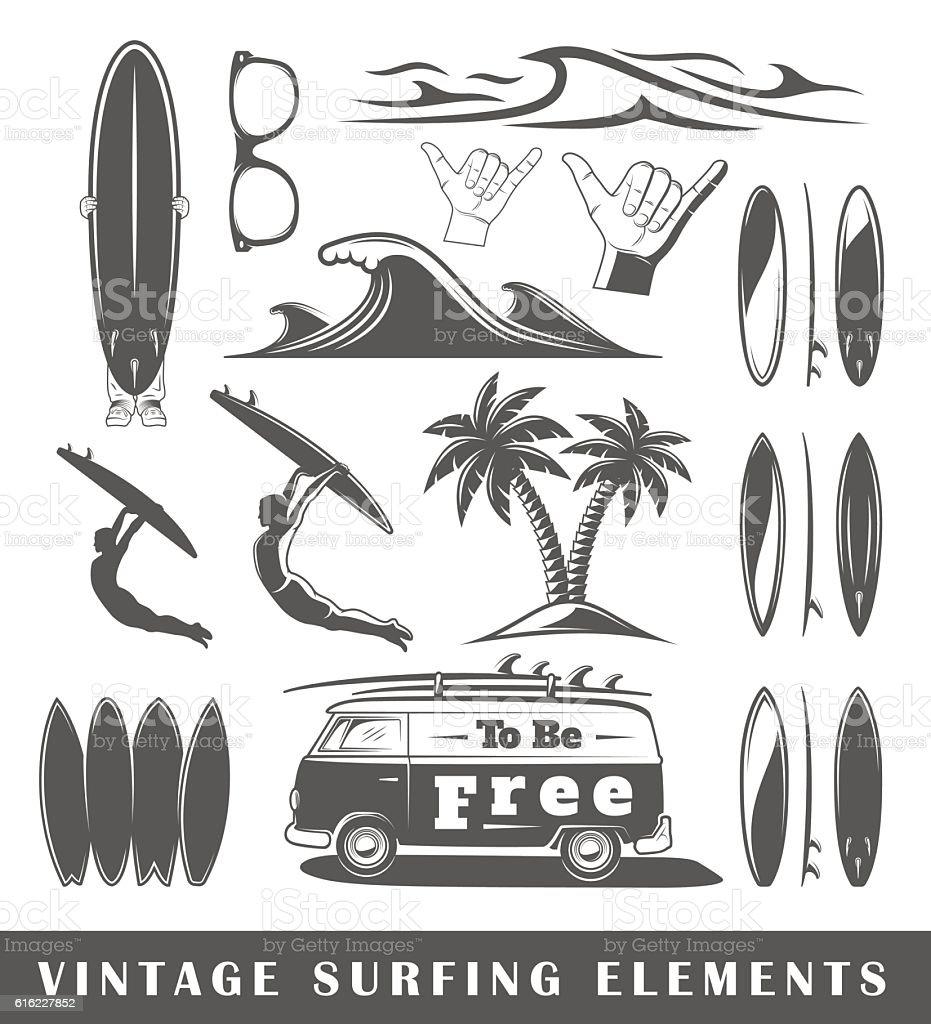Vintage surfing elements vector art illustration