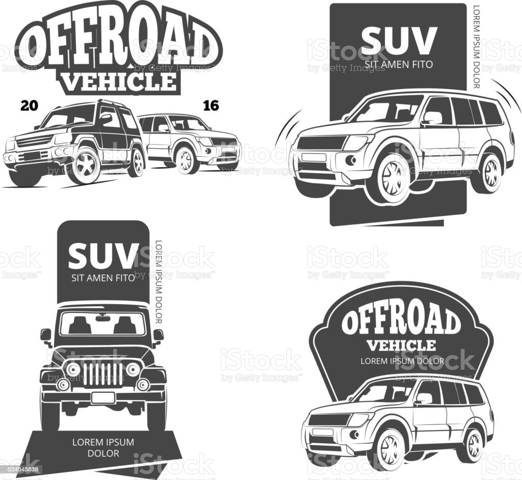 Vintage suv car vector badges, labels, logos vector art illustration