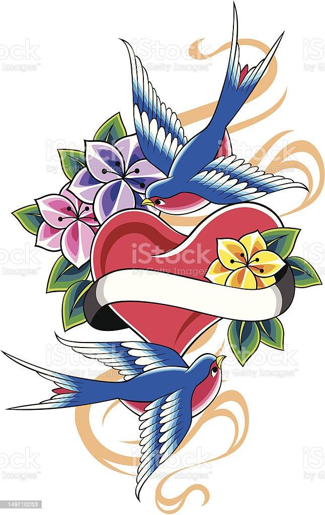 Rondine e stemma vintage fiore illustrazione royalty-free