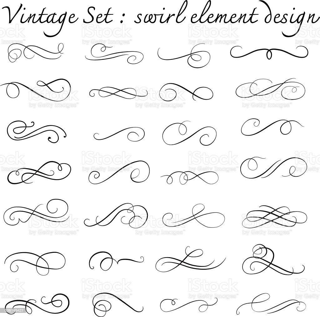 vintage swirl design element set,page decoration,vector illustra vector art illustration