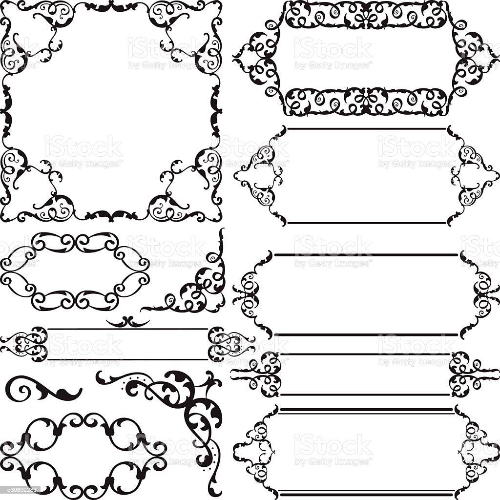 Vintage swirl ornate art set vector art illustration