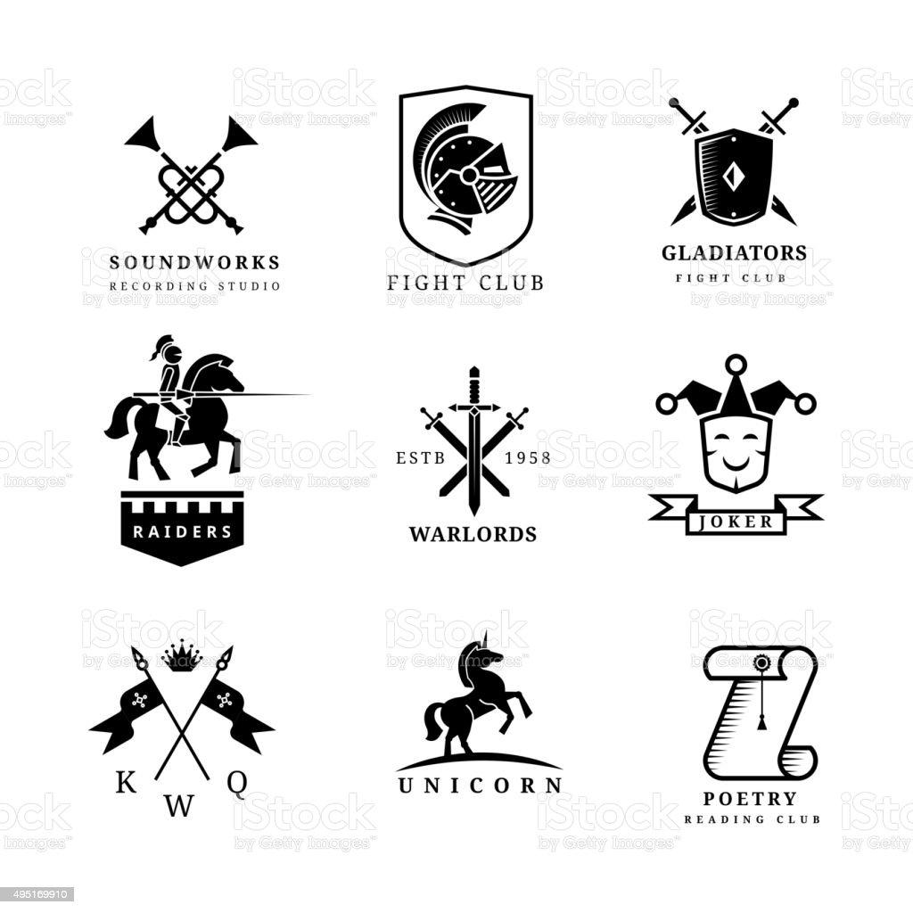 Vintage sword vector badges and labels or logo set. Heraldry vector art illustration