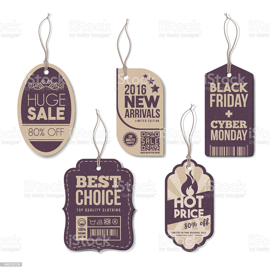 Vintage tags set vector art illustration