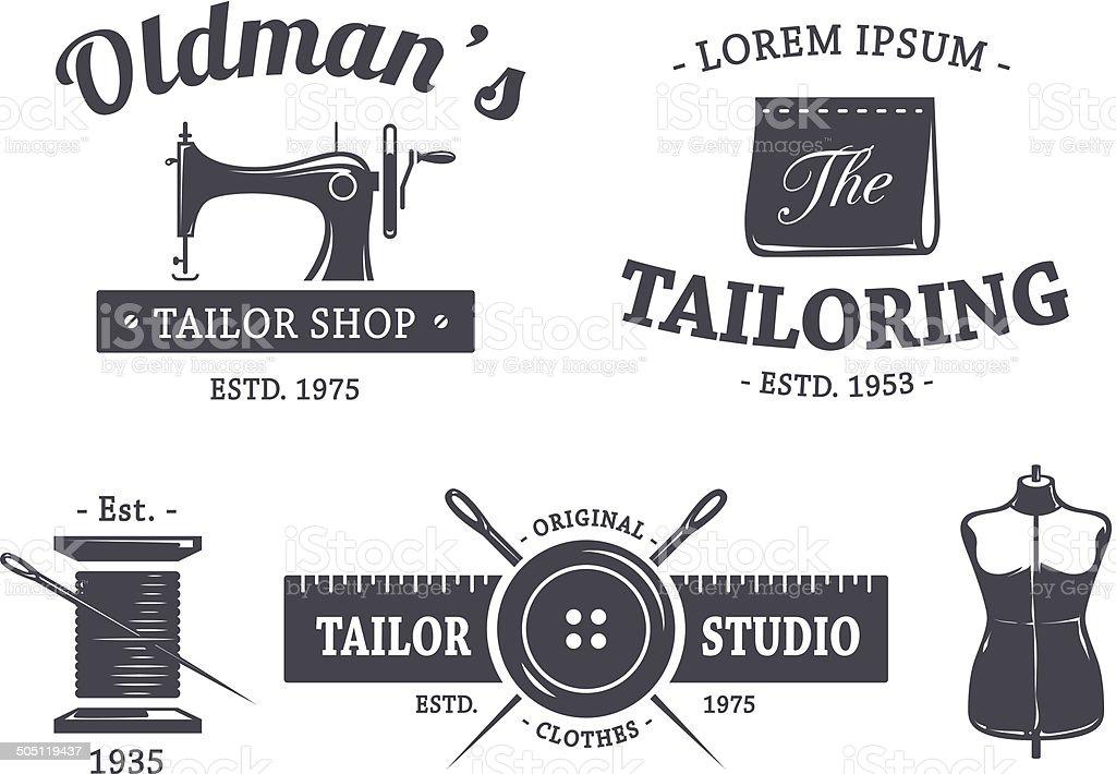 Vintage Tailor Emblems vector art illustration