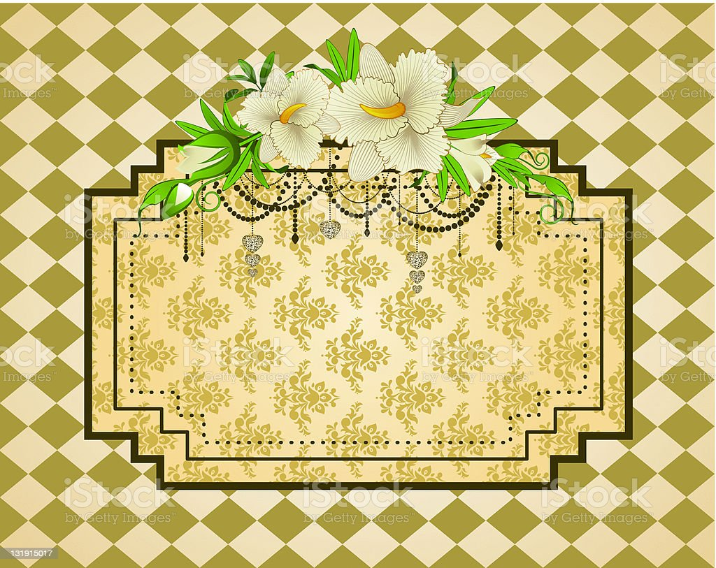 Vintage tapestry background with flowers. Vector royalty-free stock vector art