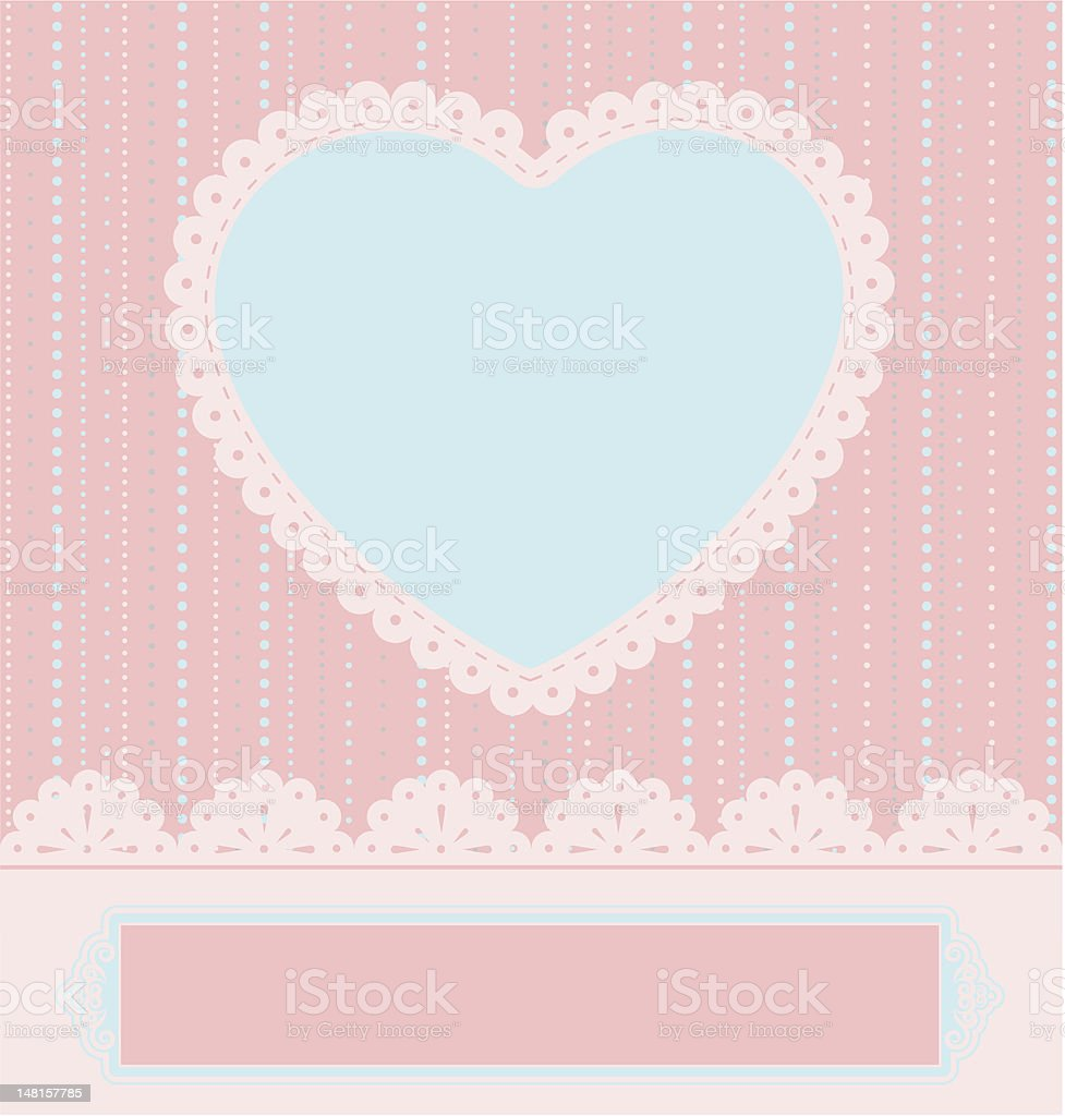 Vintage tapestry background with heart. Vector royalty-free stock vector art