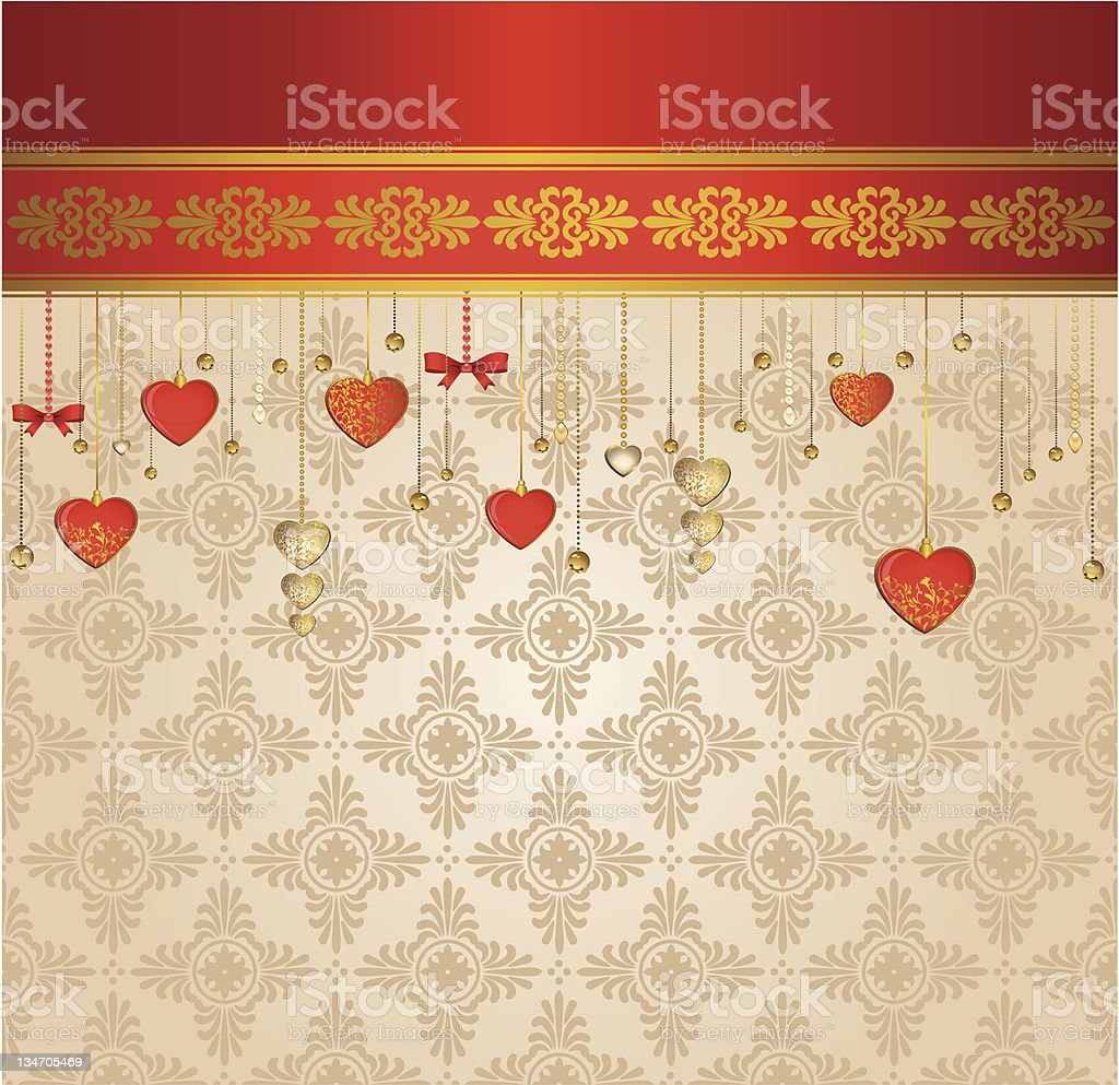 Vintage tapestry background with red hearts. Vector royalty-free stock vector art