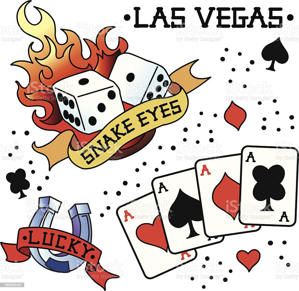 Vintage Tattoo - Las Vegas vector art illustration