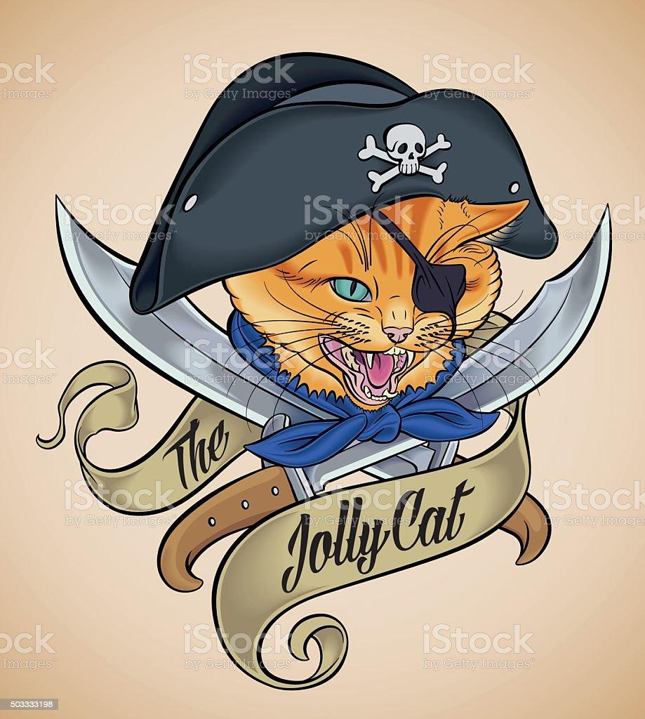 Vintage tattoo of The Jolly Cat vector art illustration