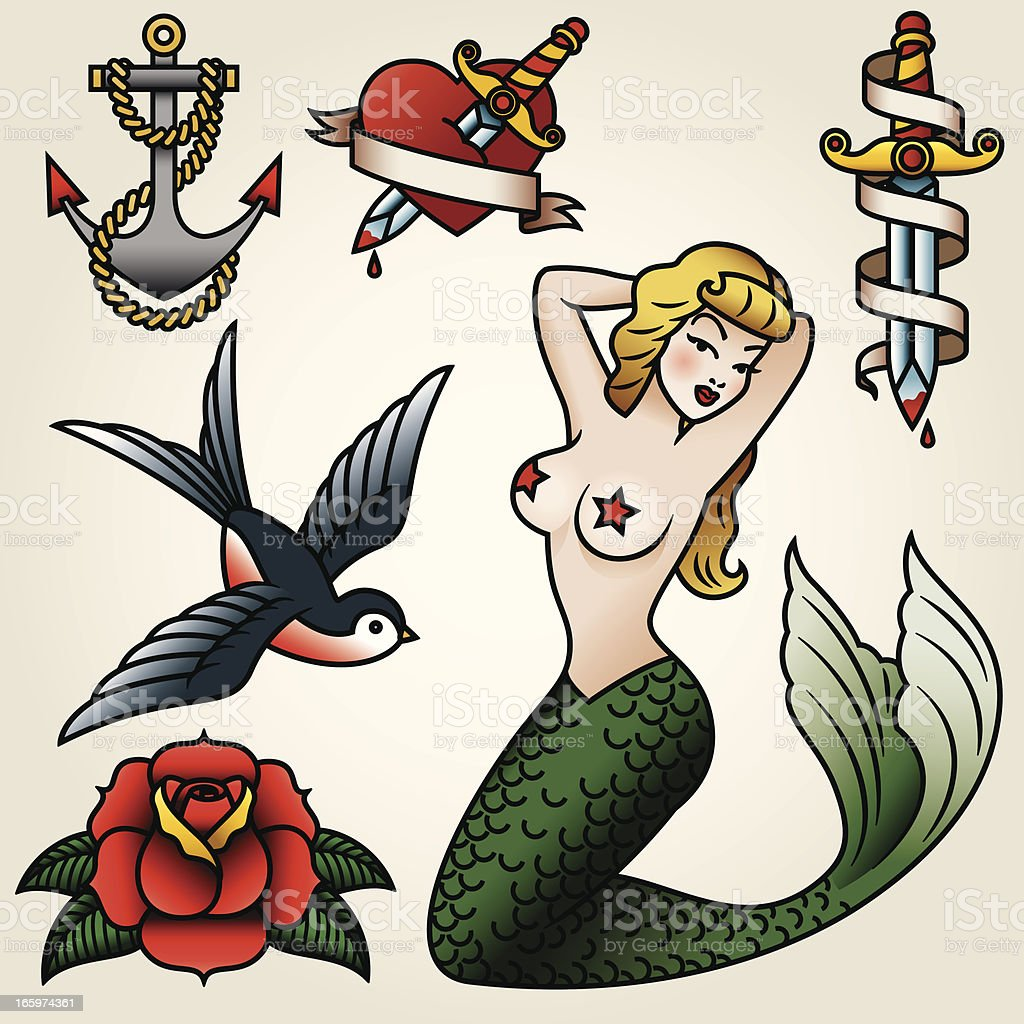 Vintage Tattoo-Style Icon Set vector art illustration