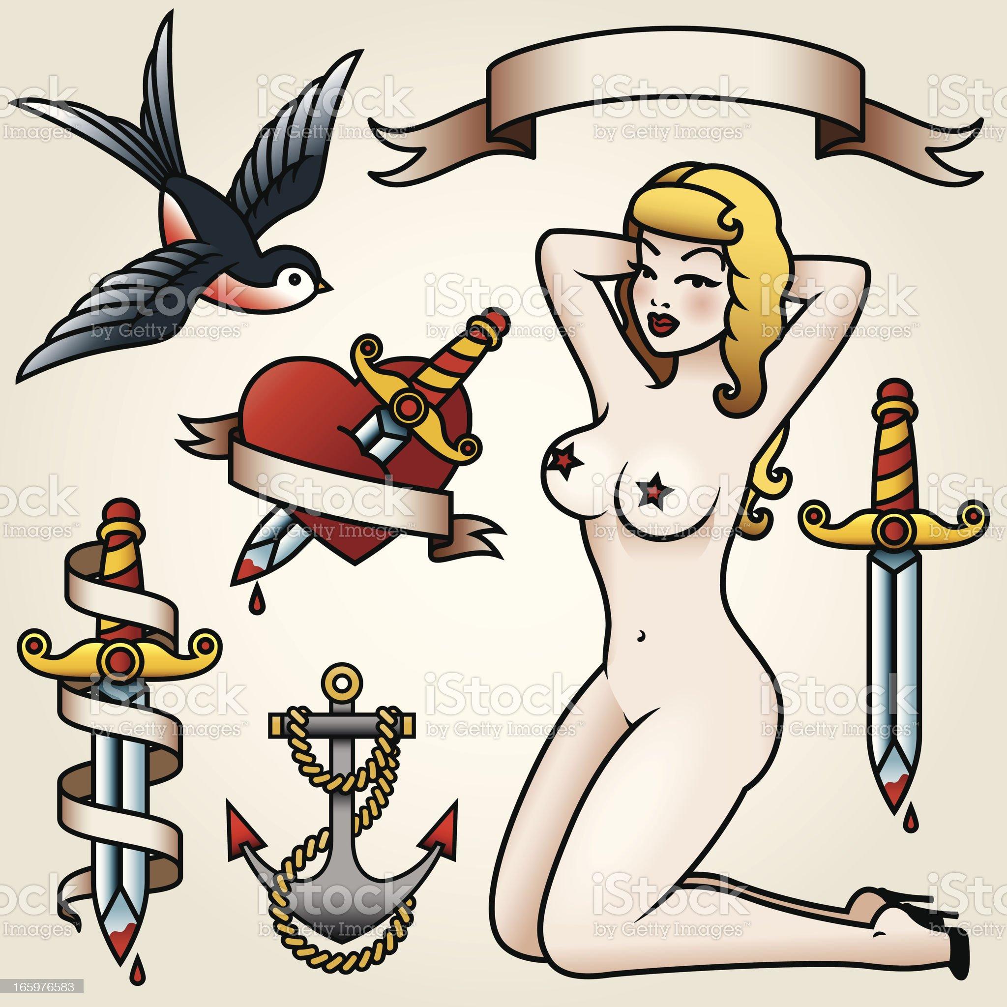 Vintage Tattoo-Style Icon Set royalty-free stock vector art