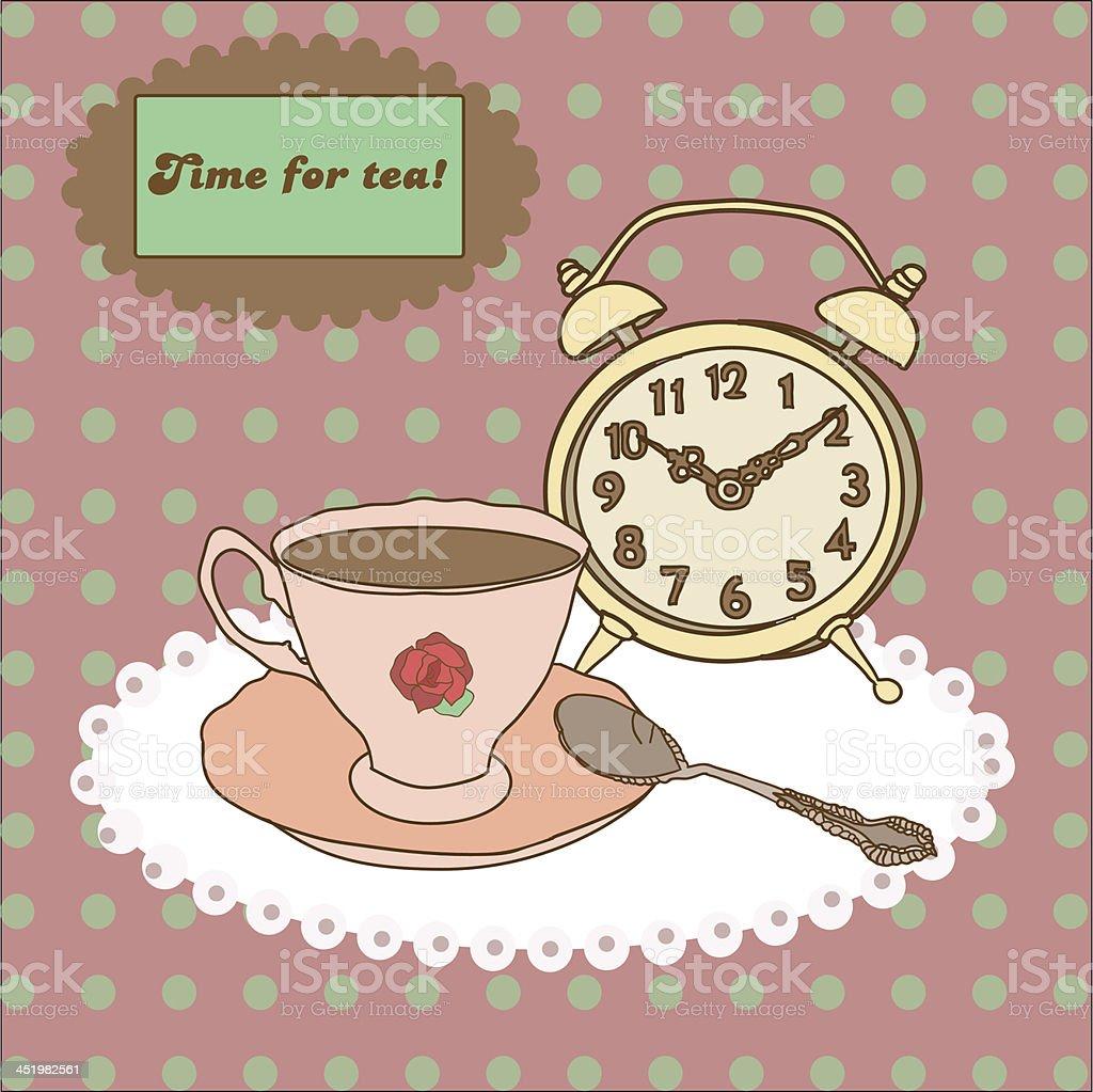 Vintage tea mug, saucer,spoon and alarm clock on tablecloth vector art illustration