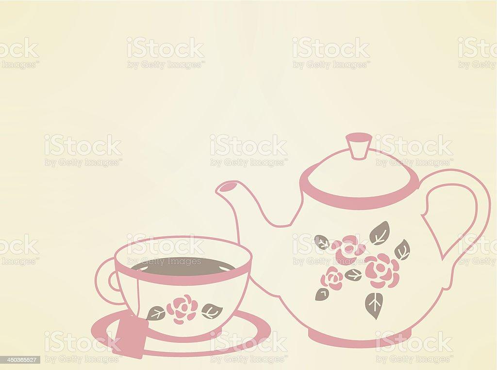 Vintage Tea Pot Set - Vector File EPS10 royalty-free stock vector art