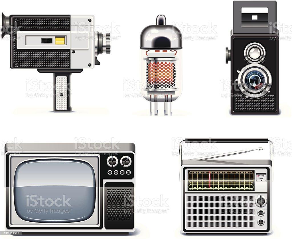 Vintage technologies icon set vector art illustration