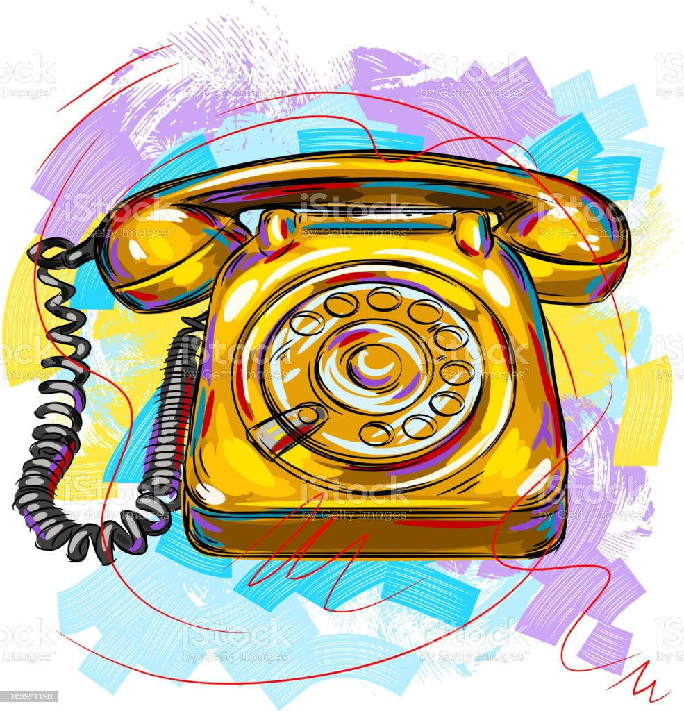 Vintage Telephone vector art illustration