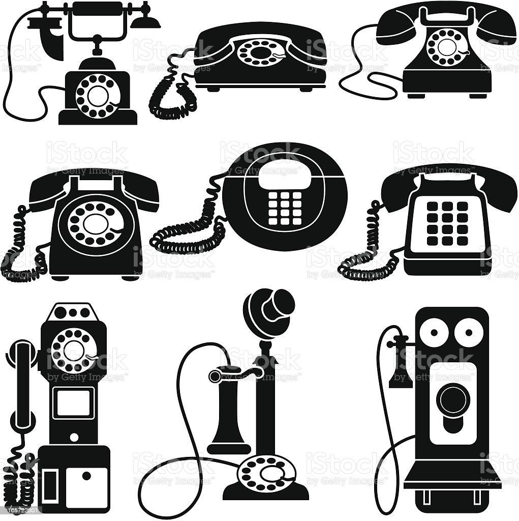 vintage telephones black and white vector art illustration