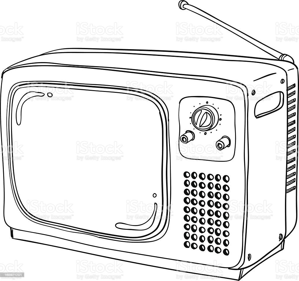 Vintage television in Black and White vector art illustration