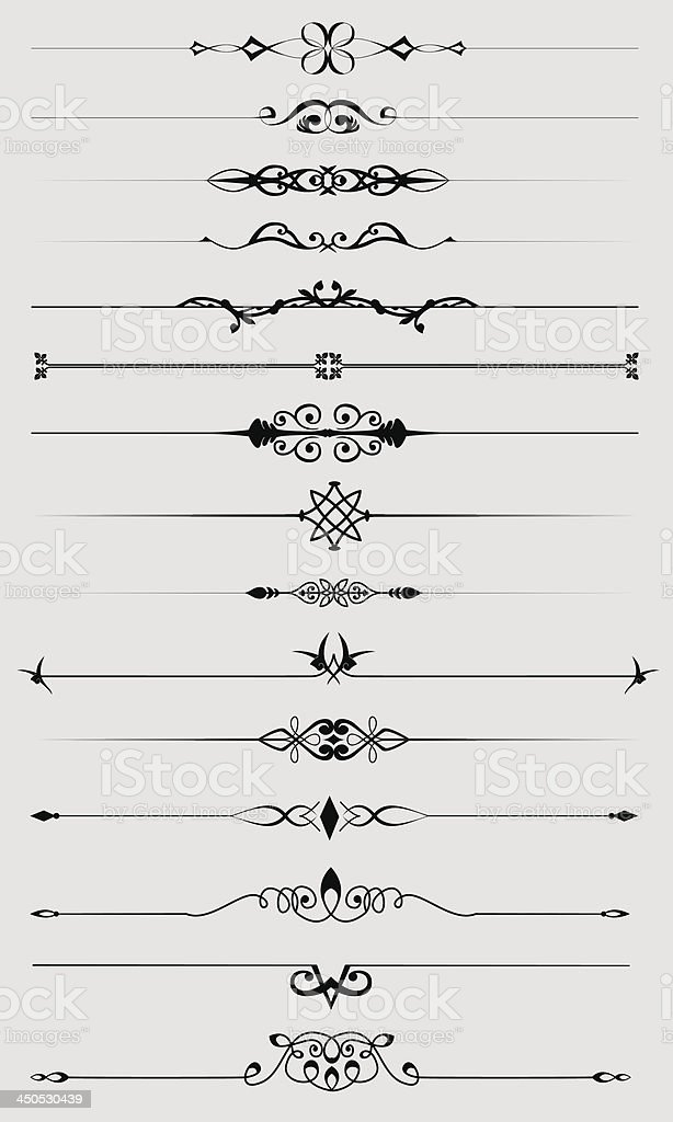 Винтаж разделители текста набор векторная иллюстрация