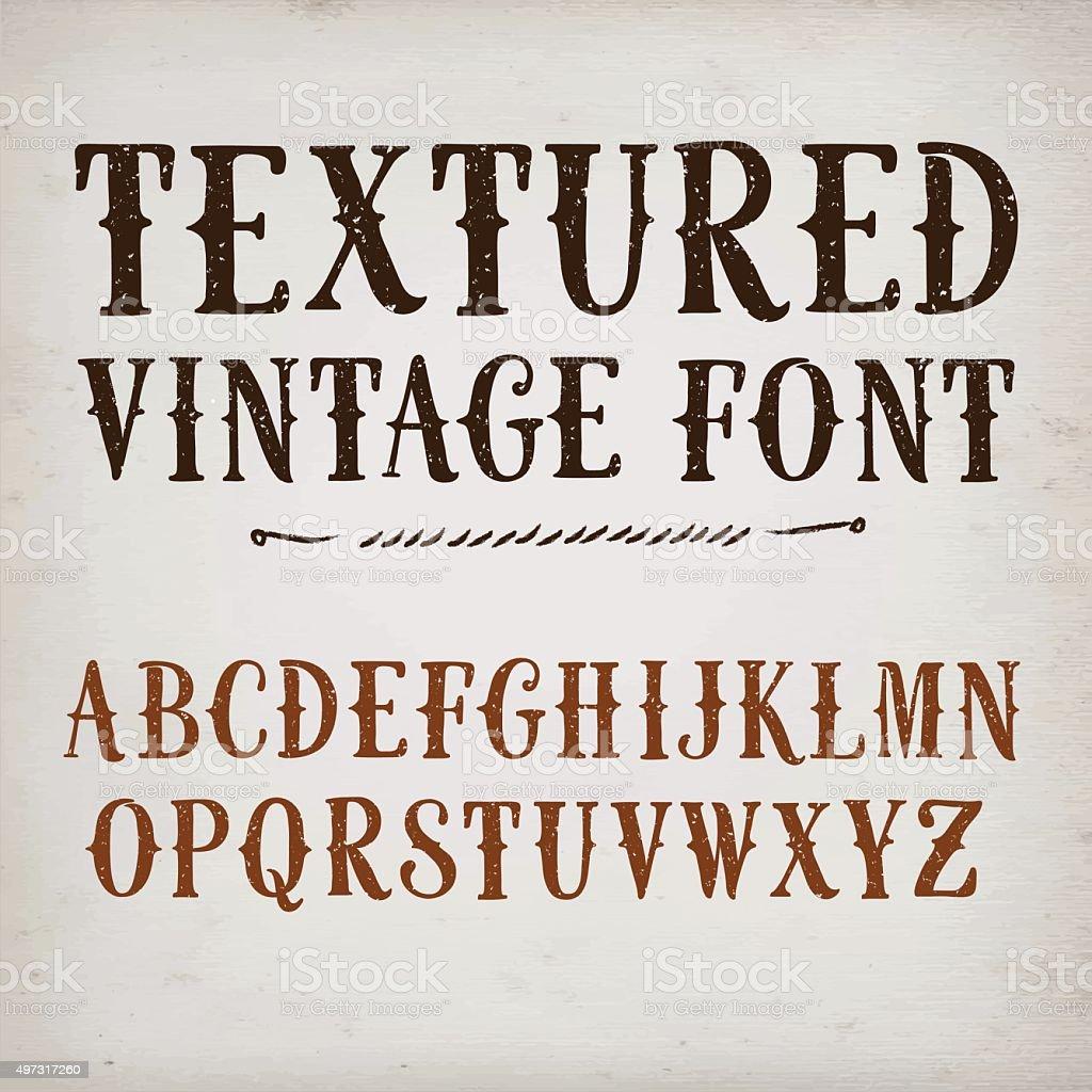 Vintage textured vector font vector art illustration