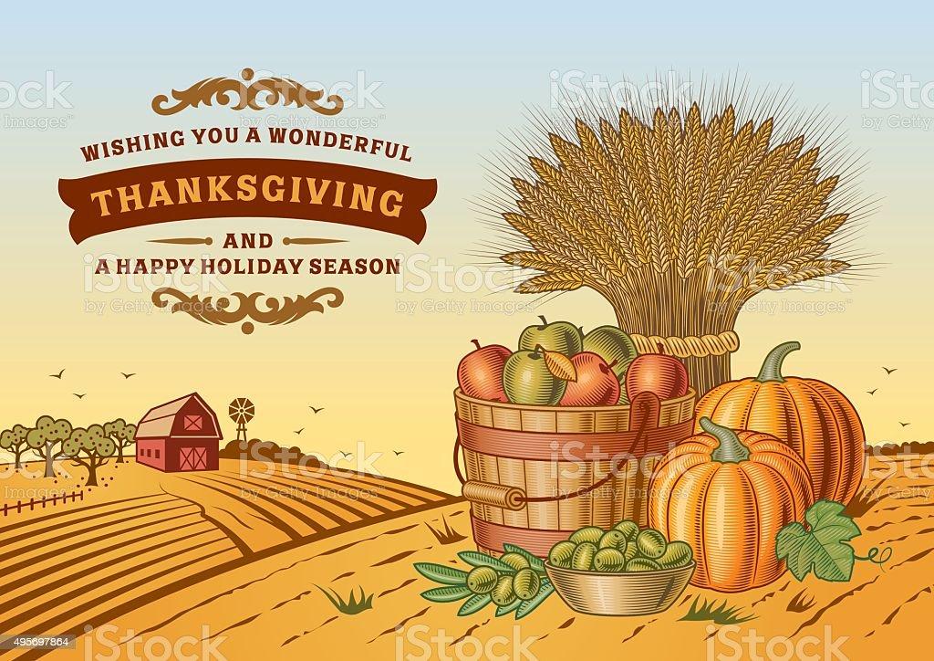 Vintage Thanksgiving Landscape vector art illustration