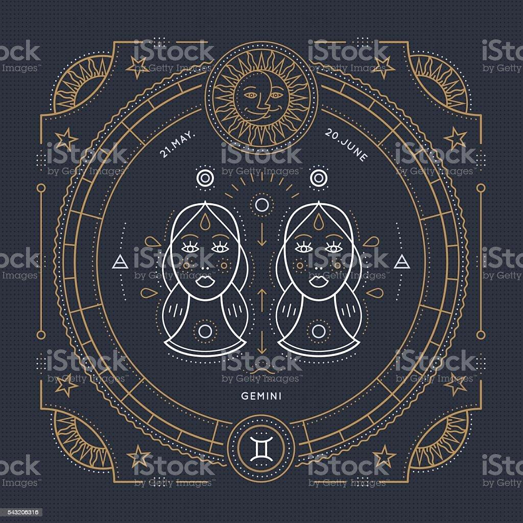 Vintage thin line Gemini zodiac sign label. Stroke outline illustration. vector art illustration