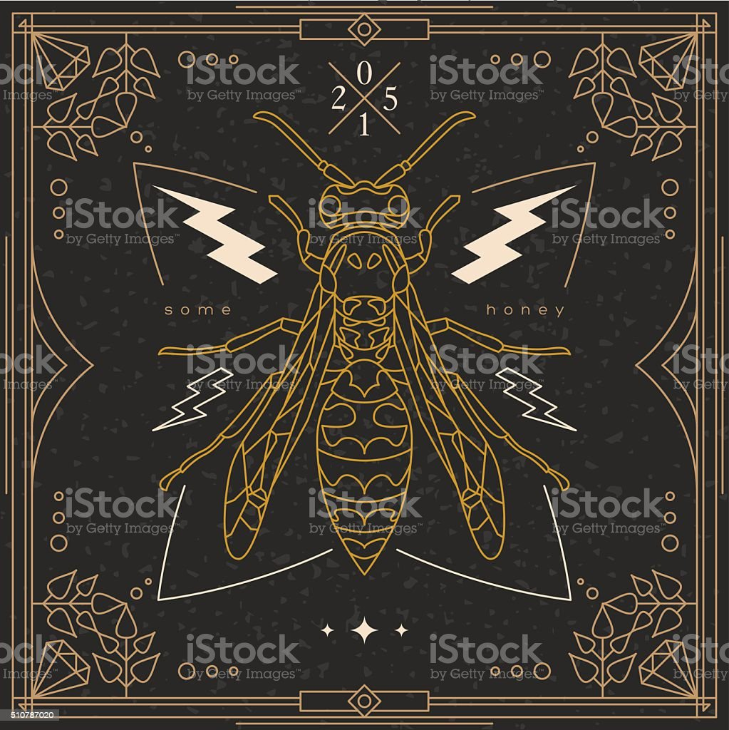 Vintage thin line insect label vector art illustration