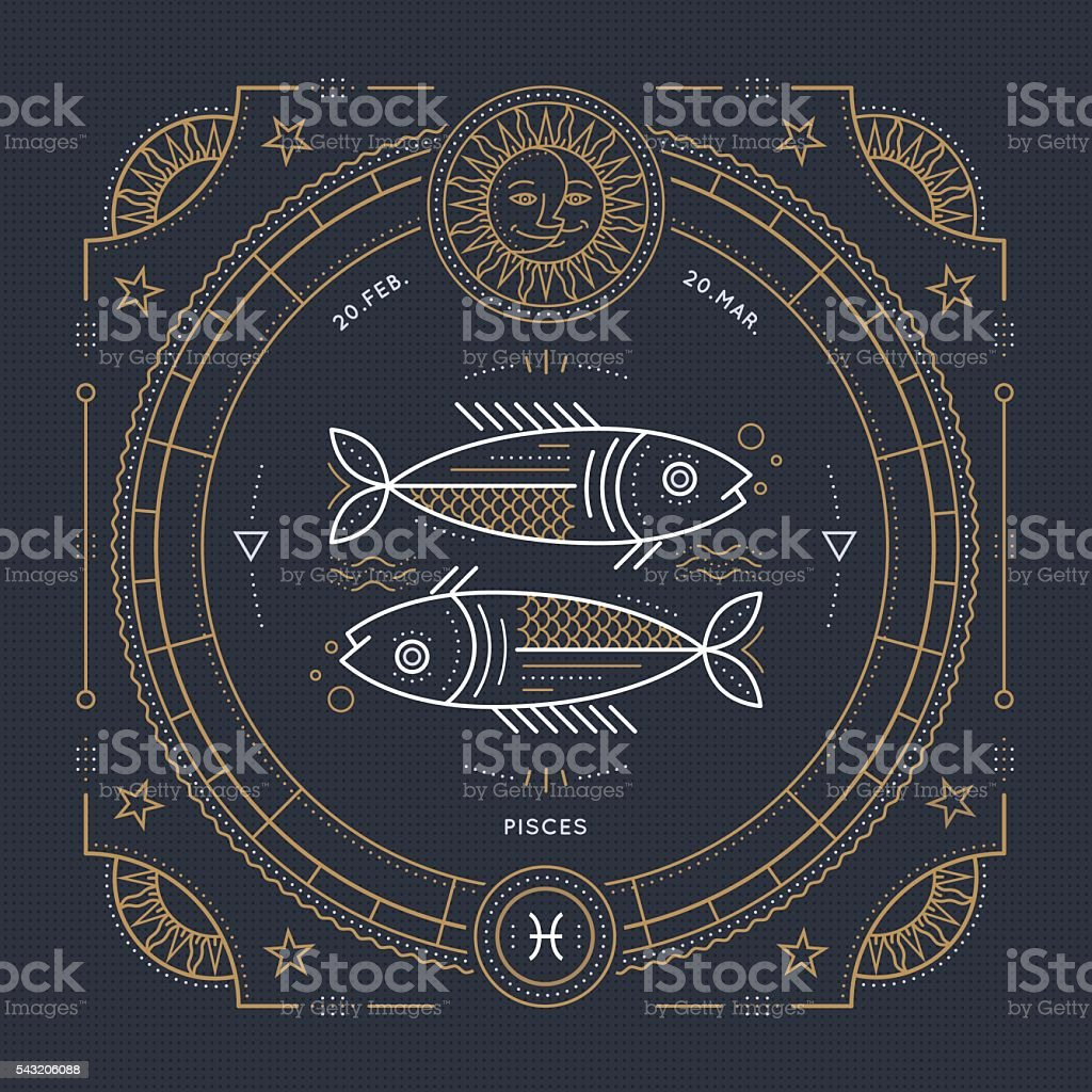 Vintage thin line Pisces zodiac sign label. Stroke outline illustration. vector art illustration