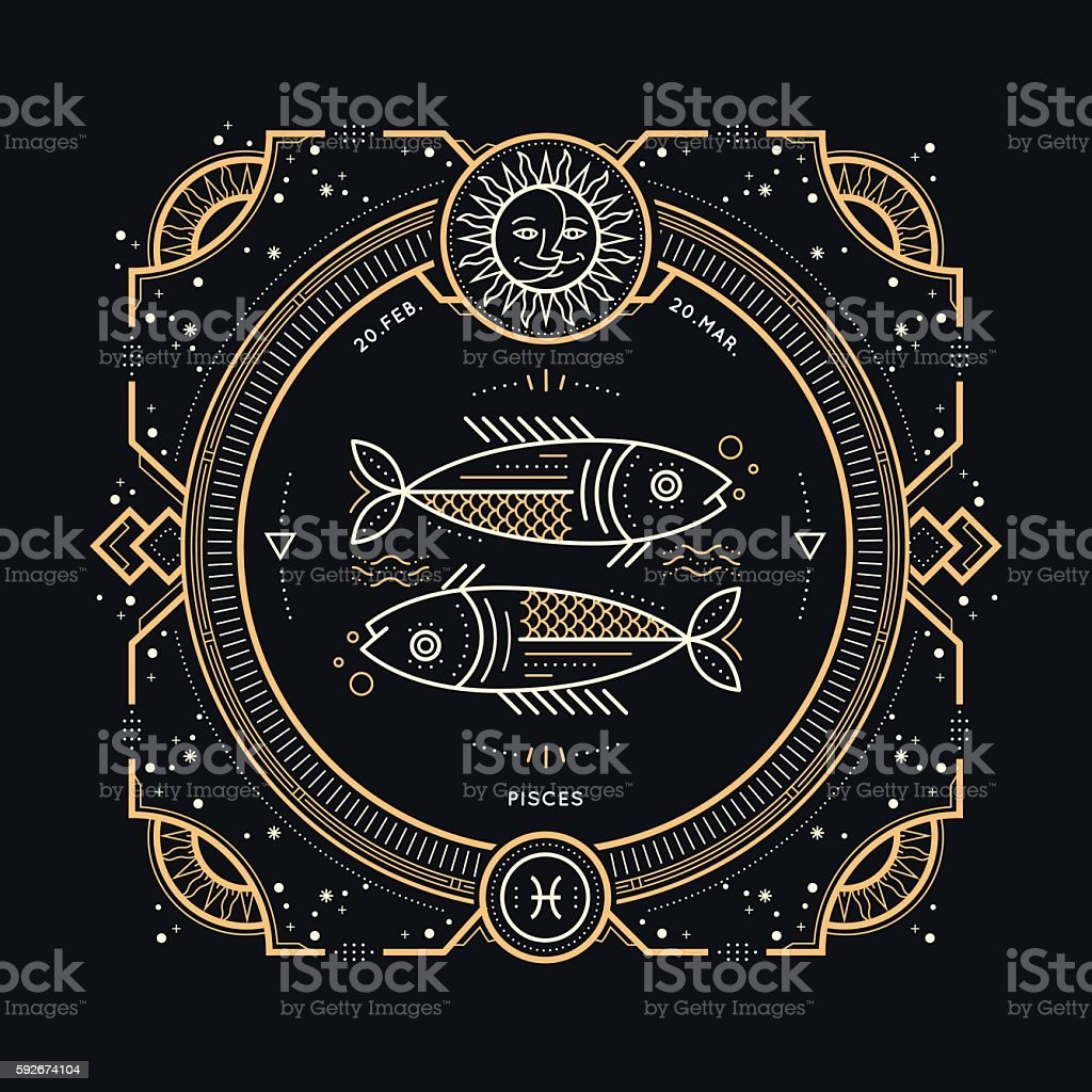 Vintage thin line Pisces zodiac sign label. vector art illustration