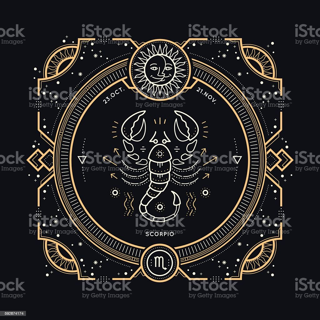 Vintage thin line Scorpio zodiac sign label. vector art illustration