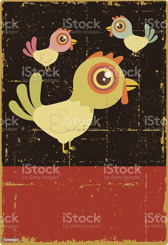 Vintage Three French Hens royalty-free stock vector art