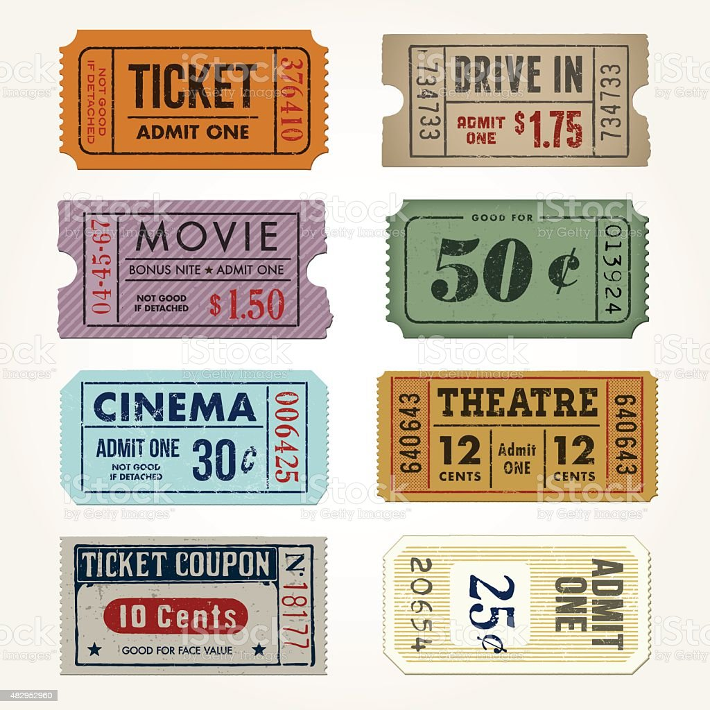 Vintage Tickets and Coupons Collection vector art illustration